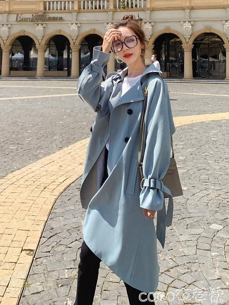 風衣外套 英倫風衣女中長款小個子韓版寬鬆春秋2021新款氣質流行外套潮 coco