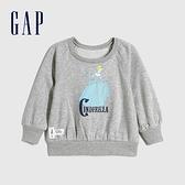 Gap女幼童 迪士尼公主系列圓領休閒上衣 614927-淺灰色
