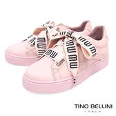 Tino Bellini 清新純色馬卡龍寬版綁帶厚底休閒鞋 _ 粉 B83256