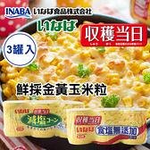 日本 稻葉 鮮採金黃玉米粒 (3入) 600g 玉米粒 玉米罐 玉米罐頭 罐頭 鮮採玉米罐 食鹽無添加 減鹽