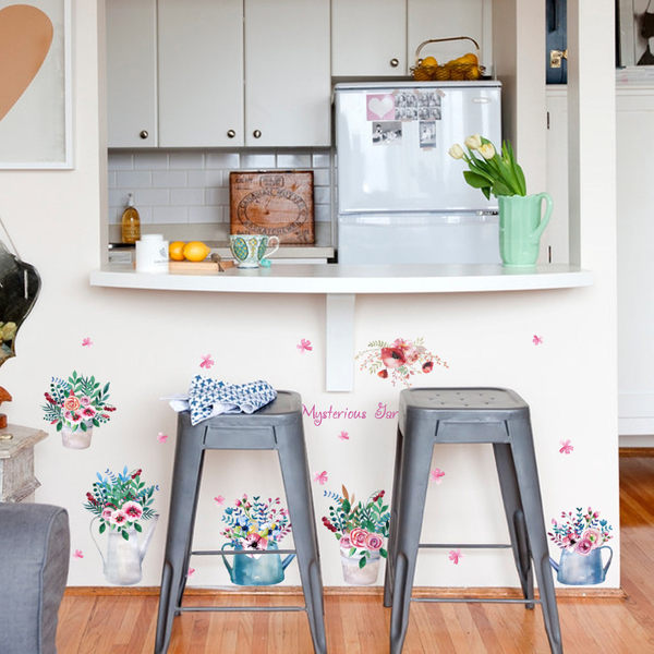 SK7106復古鐵桶花盆栽壁貼.牆貼.室內裝飾.背景牆貼紙.萌萌豬生活館