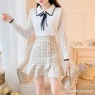 兩件套小香風套裝女秋冬新款氣質清新蝴蝶結毛衣格子短裙洋氣兩件套