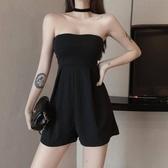 夏季復古chic港味時尚氣質修身顯瘦純色露肩簡約抹胸連體短褲女裝
