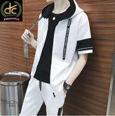 韓版潮流緞帶款套裝(加大尺碼)連帽上衣+送褲子(送兩雙襪子) 白《P5105》