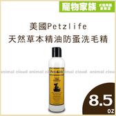 寵物家族-美國Petzlife 天然草本精油防蚤洗毛精8.5oz