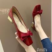 豆豆鞋網紅粗跟單鞋子女秋新款 潮鞋淺口豆豆鞋復古方頭蝴蝶結高跟鞋 麥琪