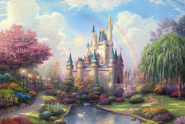 新年禮物木質夜光拼圖1000片紙質加厚風景動漫兒童玩具夢幻城堡     韓小姐