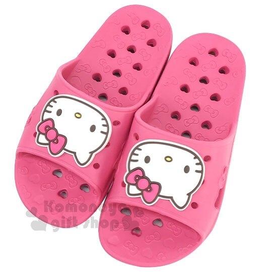 〔小禮堂〕Hello Kitty 兒童矽膠簍空浴室拖鞋《粉白.愛心》陽台拖.室內拖 8805830-09994