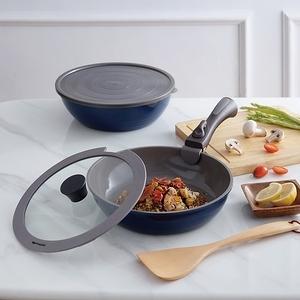 (組)可拆式陶瓷不沾導磁煎炒鍋5件組-藍+不沾導磁方形煎盤-白+可拆式手柄-灰