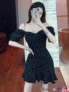 熱賣魚尾洋裝 格格家 性感女神波點連身裙收腰顯瘦A字一字V領泡泡短袖魚尾短裙【618 狂歡】