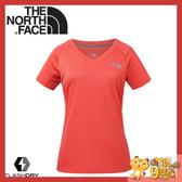 【The North Face 女 FlashDry排汗短袖T恤《橘》】3GEK/短袖上衣/排汗衣/運動短袖