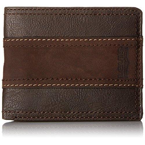 Levi's李維斯麂皮覆蓋條紋棕色皮夾