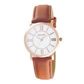 GOTO 低調奢華小資女皮革腕錶-咖啡色-GL0054L-4K-241