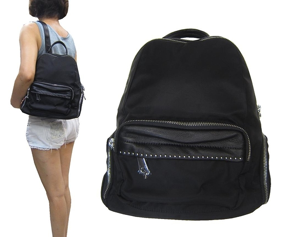 ~雪黛屋~COUNT 後背包小型容量可8寸平板進口防水水晶布+牛皮革材質外出休閒BCD50004101500