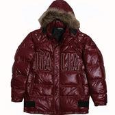 KAPPA義大利高保暖長版羽絨休閒外套~暗紅