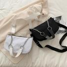 特賣 新款網紅小眾女包時尚百搭黑色鏈條單肩法棍腋下包韓版斜跨包
