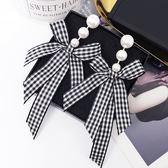輕盈柔美緞帶蝴蝶結珍珠耳環 (0751)