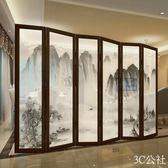 中式屏風隔斷實木客廳折疊玄關移動辦公室裝飾現代簡約半透明折屏YYP
