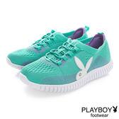 PLAYBOY 動感織心 襪套假綁帶輕量休閒鞋-藍綠