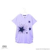 【INI】輕鬆自在、輕柔薄棉印花寬版上衣.紫色
