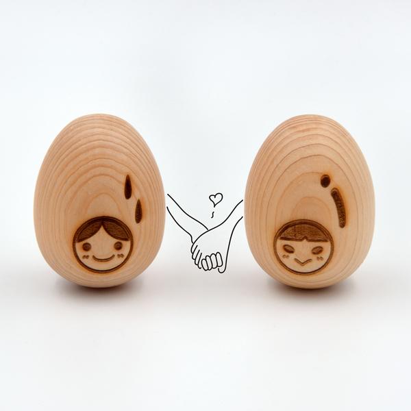 芬多森林|台灣檜木蛋-娃娃版一對,婚禮小物雷射雕刻客製化,可手玩的實木釋香蛋療癒按摩小物