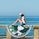 戶外郊游披肩圓形沙灘墊防潮加厚地毯布質露營坐蓆墊野餐墊防曬巾 『名購居家』igo