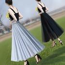 大碼垂感顯瘦網紗裙女半身裙夏春款2021年新款長裙子中長款小個子 錢夫人