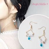 耳環《可改耳夾式》《可改S925銀針》復古珍珠水晶吊籃耳勾 (SRA0110) AngelNaNa