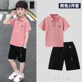 巧米兔童裝男童套裝2020新款夏季兒童休閑裝中大童短袖兩件套韓版 蘿莉小腳丫