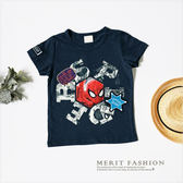 純棉 小童 中大童 美式卡通蜘蛛人刺繡徽章T恤 休閒 美式 蜘蛛人 英雄 男童 童裝 哎北比童裝