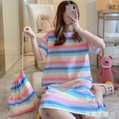 睡裙女夏韓版純棉裙子春夏季可愛學生孕婦長款薄款寬鬆彩虹條睡衣『艾麗花園』