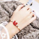 紅色天鵝手鐲女時尚鈦鋼鍍18K玫瑰金本命年滿鑚手鍊生日禮物 范思蓮恩