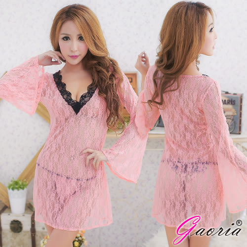 情趣用品 嬌戀春色 蕾絲透明長袖 誘惑睡衣睡裙 N3-0037