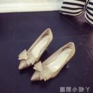 低跟鞋婚鞋金色亮片尖頭高跟鞋細跟性感銀色蝴蝶結單鞋氣質中跟伴娘女鞋 蘿莉小腳丫