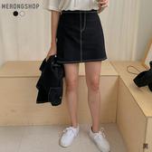 東京著衣-MERONGSHOP-簡約車線鬆緊腰短裙(E190003)