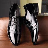男皮鞋 正裝皮鞋 秋冬新款時尚男鞋正裝商務漆皮韓版休閒鞋 商務男鞋子《印象精品》q1514