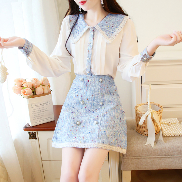超殺29折 韓國風甜美娃娃領上衣洋氣雙排釦套裝長袖裙裝