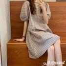 棉麻連身裙 格子連身裙女寬鬆棉麻裙子夏季復古洋氣減齡ins燈籠袖短款a字短裙 愛麗絲