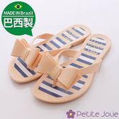 Petite Jolie巴西製夾腳拖- 俏麗蝴蝶條紋夾腳拖 拖鞋 巴西拖鞋 海灘拖-7711441-N-淺咖-0