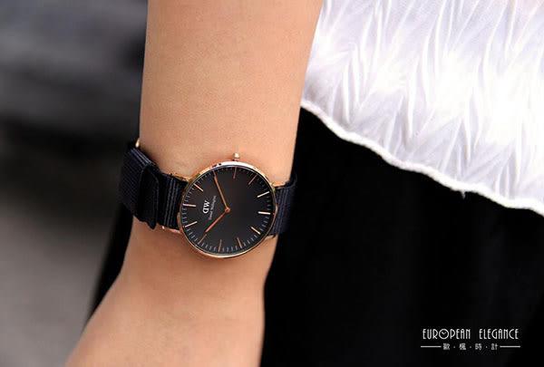 Daniel Wellington (DW) 經典黑色帆布錶帶(手錶 男錶 女錶 對錶)-原廠公司貨-保固兩年