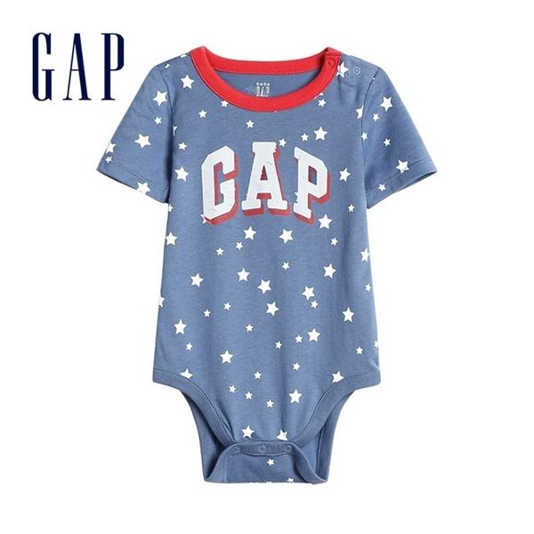 Gap 嬰兒 Logo棉質舒適短袖包屁衣 576918-灰藍色