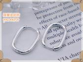 【羅蘭達銀飾】 耳環。925純銀。橢圓簡單易扣式造型。百搭款。