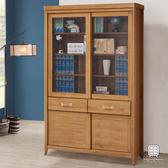 【Hampton 漢汀堡】列蒂西雅柚木4尺推門中抽書櫥