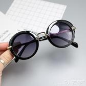 兒童墨鏡新款兒童太陽鏡小孩墨鏡寶寶眼鏡圓框金屬蛤蟆鏡男女童遮陽鏡 小天使