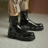 手工真皮女鞋34~40 2020網紅爆款帥氣百搭圓頭厚底中跟短靴 馬丁靴 機車靴 ~2色
