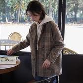 毛呢外套 韓系秋冬休閒格子寬鬆西裝短款大衣 花漾小姐【預購】