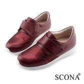 SCONA 蘇格南 全真皮 樂活輕盈側帶休閒鞋 紅色 7257-2
