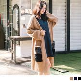 《FA1608-》雙色拼接毛料口袋長版針織外套 OB嚴選