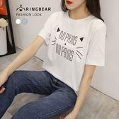 棉T--舒適休閒小貓字母印花寬鬆修身百搭圓領短袖T恤(白.藍L-3L)-T340眼圈熊中大尺碼