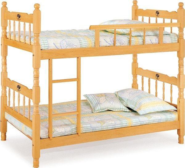 HY-888-1  白木2寸角方柱3尺雙層床(單欄.不含床墊)